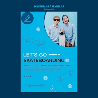 Plantilla de póster de skater