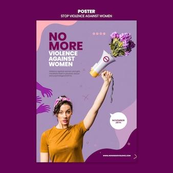 Plantilla de póster sobre la eliminación de la violencia contra la mujer