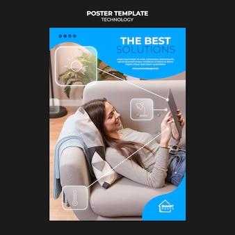 Plantilla de póster de soluciones tecnológicas