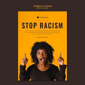 Plantilla de póster stop racism