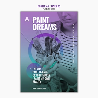 Plantilla de póster de sueños de pintura