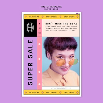 Plantilla de póster para super venta de gafas de sol