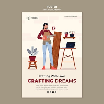 Plantilla de póster de taller de artesanía creativa