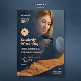 Plantilla de póster para taller de cerámica creativa con mujer.