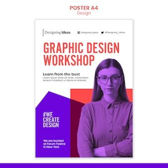 Plantilla de póster de taller de diseño gráfico