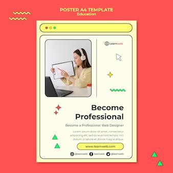 Plantilla de póster de taller de diseño web