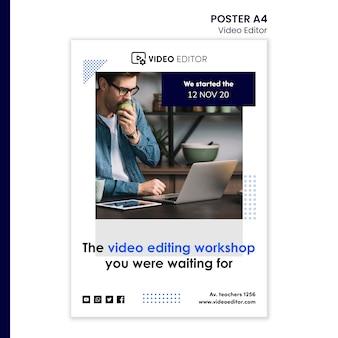 Plantilla de póster para taller de edición de video.
