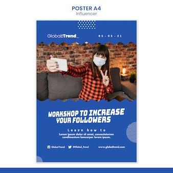 Plantilla de póster de taller de influencers
