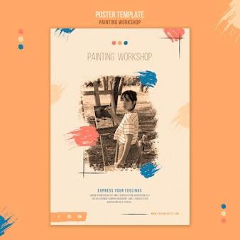 Plantilla de póster de taller de pintura con foto