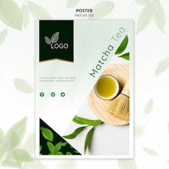 Plantilla de póster de té matcha con batidor de bambú