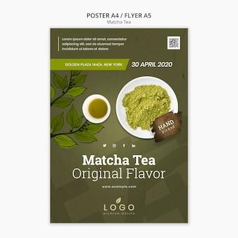 Plantilla de póster de té matcha con foto