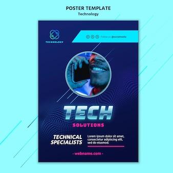 Plantilla de póster de tecnología con foto