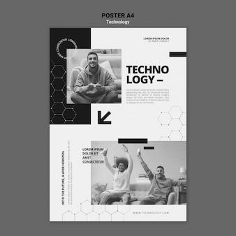 Plantilla de póster de tecnología en videojuegos