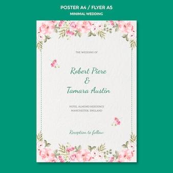 Plantilla de póster con tema de boda