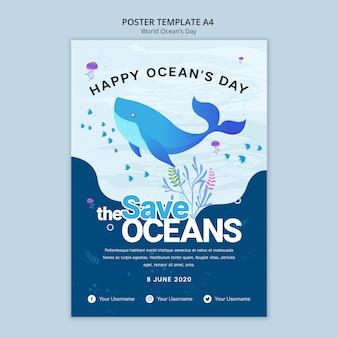 Plantilla de póster con tema del día mundial del océano