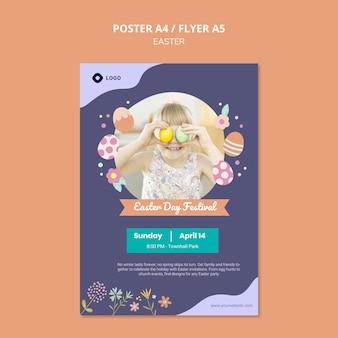 Plantilla de póster con tema del día de pascua
