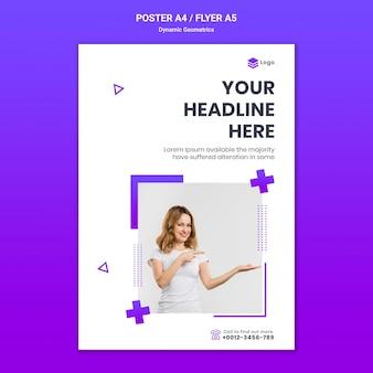 Plantilla de póster para tema gratuito con geometría dinámica.