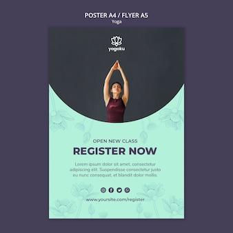 Plantilla de póster con tema de yoga