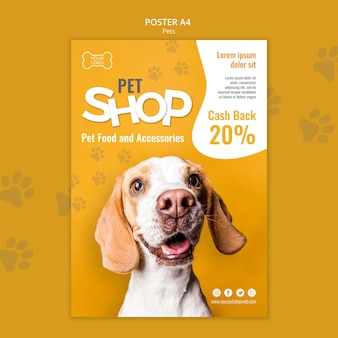Plantilla de póster de tienda de mascotas con foto