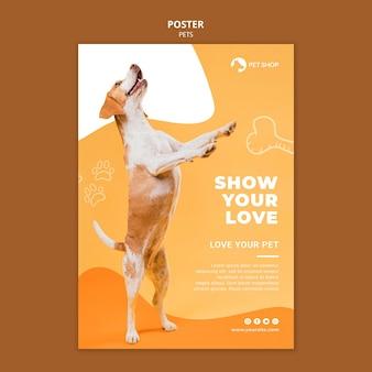 Plantilla de póster de tienda de mascotas