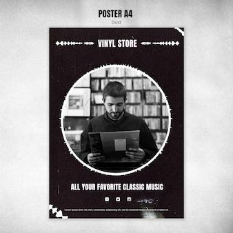 Plantilla de póster de tienda de vinilo