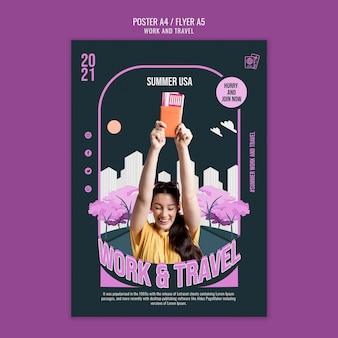 Plantilla de póster de trabajo y viajes