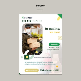 Plantilla de póster de transporte de entrega