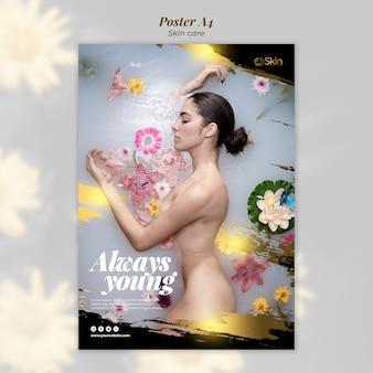 Plantilla de póster de tratamiento para el cuidado de la piel