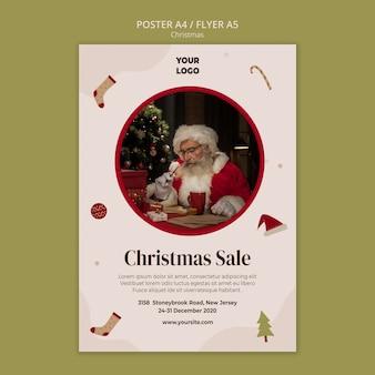 Plantilla de póster para venta de compras navideñas