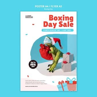 Plantilla de póster de venta del día del boxeo