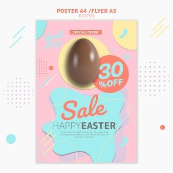 Plantilla de póster con venta del día de pascua