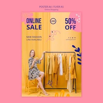 Plantilla de póster de venta en línea