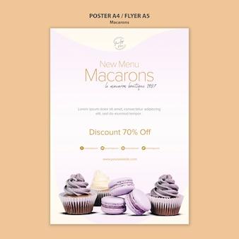 Plantilla de póster de venta de macarons