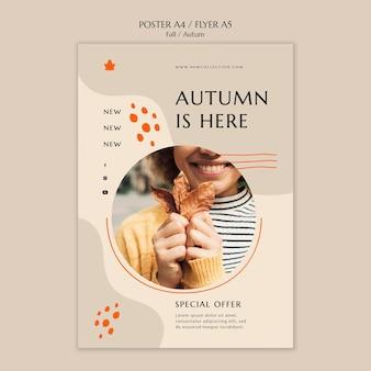 Plantilla de póster para la venta de otoño