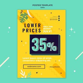 Plantilla de póster de ventas con colores brillantes