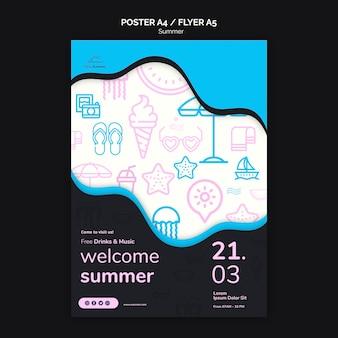 Plantilla de póster de verano playa fiesta azul doodle