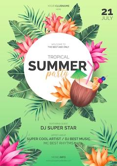 Plantilla de póster de verano tropical