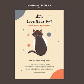 Plantilla de póster vertical para adopción de gatos