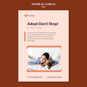 Plantilla de póster vertical para adopción de mascotas.