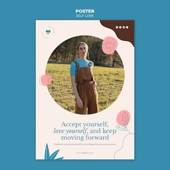 Plantilla de póster vertical para el amor propio y la aceptación.