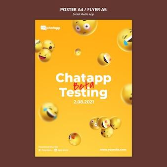 Plantilla de póster vertical para la aplicación de chat de redes sociales con emojis