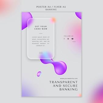 Plantilla de póster vertical para banca transparente y segura