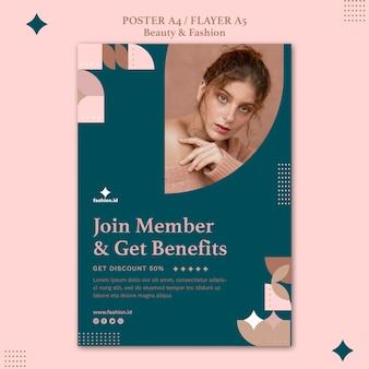 Plantilla de póster vertical de belleza y moda femenina