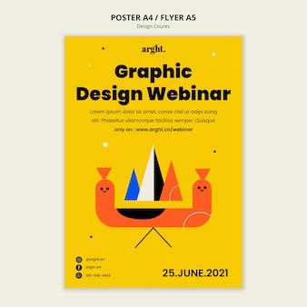 Plantilla de póster vertical para clases de diseño gráfico.