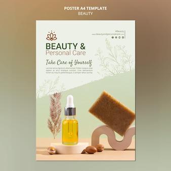 Plantilla de póster vertical para cuidado personal y belleza.