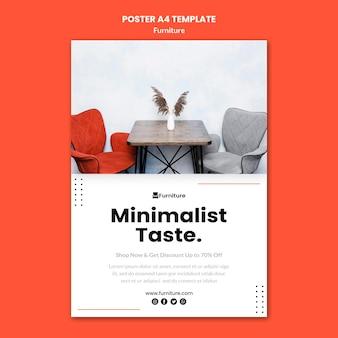 Plantilla de póster vertical para diseños de muebles minimalistas.