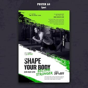 Plantilla de póster vertical para ejercicio y entrenamiento de gimnasia.