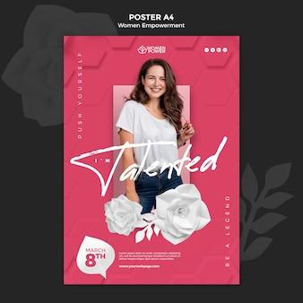 Plantilla de póster vertical para el empoderamiento de las mujeres con palabra alentadora