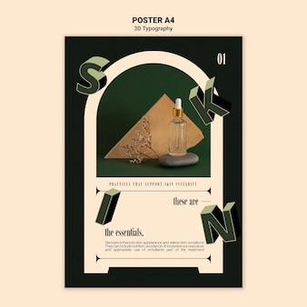 Plantilla de póster vertical para exhibición de botellas de aceite esencial con letras tridimensionales