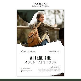 Plantilla de póster vertical para la exploración de la naturaleza y el ocio.